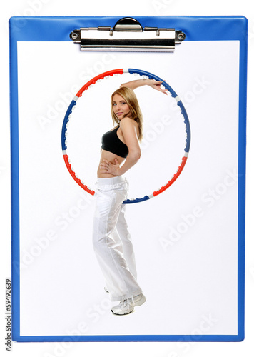 blue clipboard with sport fitness woman hula hoop isolated