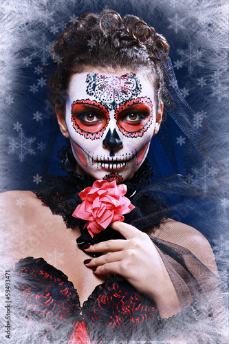 winter woman make up sugar skull