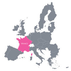 map of European Union with the indication of France