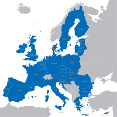 blue map of European Union with all names of members countries