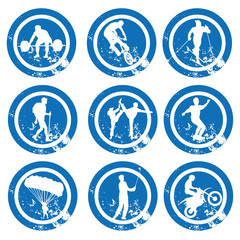 nine different blue icons with white silhouettes