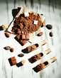 Cocoa powder on wooden table