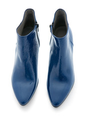Blue shiny patent leather zipped ankle boots