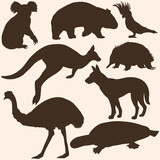 vector set of australian animals silhouettes
