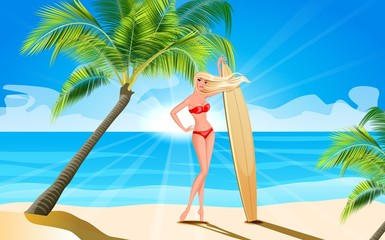Girl with a surfboard on the shore