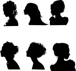 Vector drawing silhouettes hairstyles