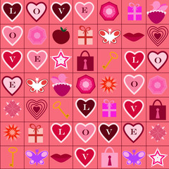 Love icons pattern