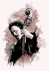 double-bass player over grunge background