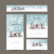 Merry christmas, set postcards with cityscape background