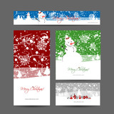 Merry christmas, set of postcards with winter tree