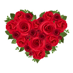 Heart bouquet of red roses. Vector illustration.