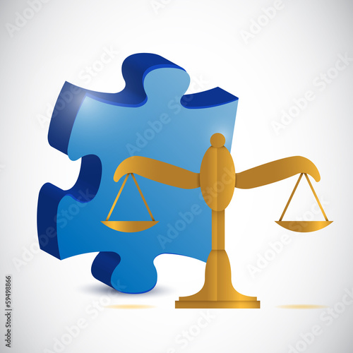 balance scale and puzzle piece illustration