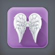 Angel wings, long shadow icon