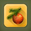 Christmas ball, long shadow icon
