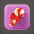 Christmas candy with bow, long shadow icon