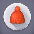 Knitted red cap, long shadow icon