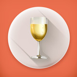 Glass of champagne, long shadow icon
