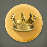 Gold crown, long shadow icon