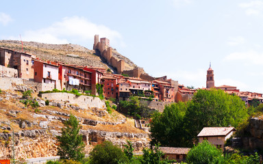 View of Albarracin with old fortress wall