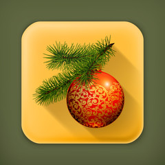 Christmas ball, long shadow icon