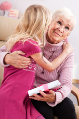 Birthday grandma hug