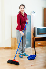 Smiling mature housewife cleaning  in living room