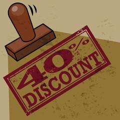Stamp 40 percent Discount, vector illustration