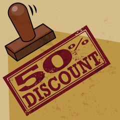 Stamp 50 percent Discount, vector illustration