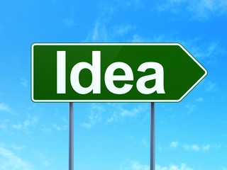 Marketing concept: Idea on road sign background