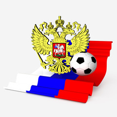russian eagle arm with flag and soccer ball