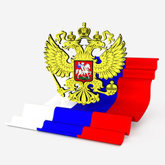 russian flag and coat of arm with gold eagle