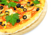 pizza on wooden plate isolated