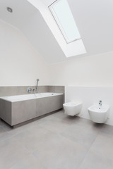 White and gray bathroom interior
