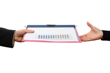Handing File Folder, teamwork concept