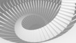 White spiral stairs in abstract round interior. 3d illustration