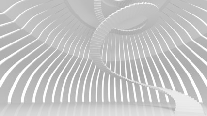 White spiral stairs in abstract round interior. 3d render