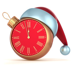 Happy New Year Christmas ball alarm clock bauble ornament