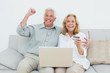 Cheerful senior couple doing online shopping on sofa