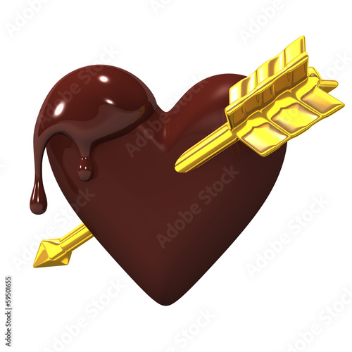 Heart-shapedChocolateWithGoldenArrow