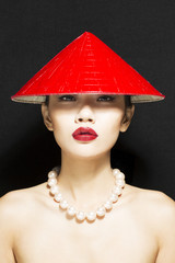 Vietnamese Asian wearing Conical Hat