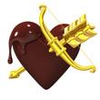 Heart-shapedChocolateWithGoldenBowAndArrow