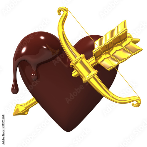 Heart-shapedChocolateWithGoldenBowAndArrow