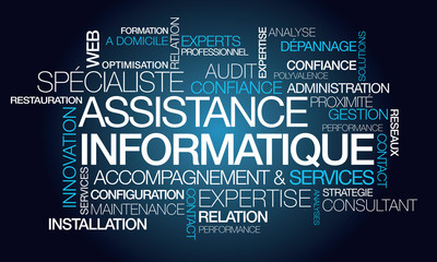 Assistance informatique maintenance service nuage de mots