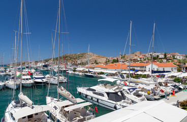 Cesme marina and castle view, Turkey