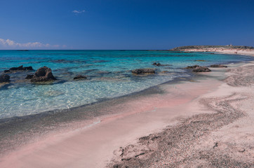 Pink sand in Elafonisi Beach
