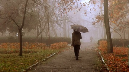girl with umbrella goes back to the autumn alley in the fog