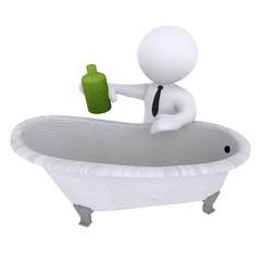 Man Pouring Soap In Bathtub