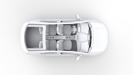 3d rendering car, top view