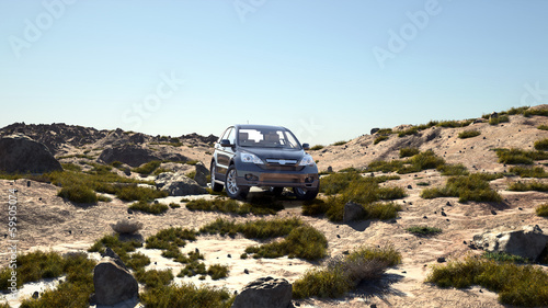 4x4 luxury car in a spring time desert, 3d illustrated