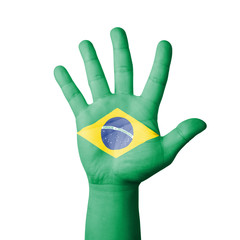 Open hand raised, Brazil flag painted